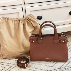 Burberry Banner Handbag Cognac Leather Small
